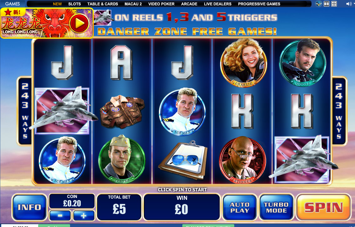 Výherní pětiválcový automat Top Gun